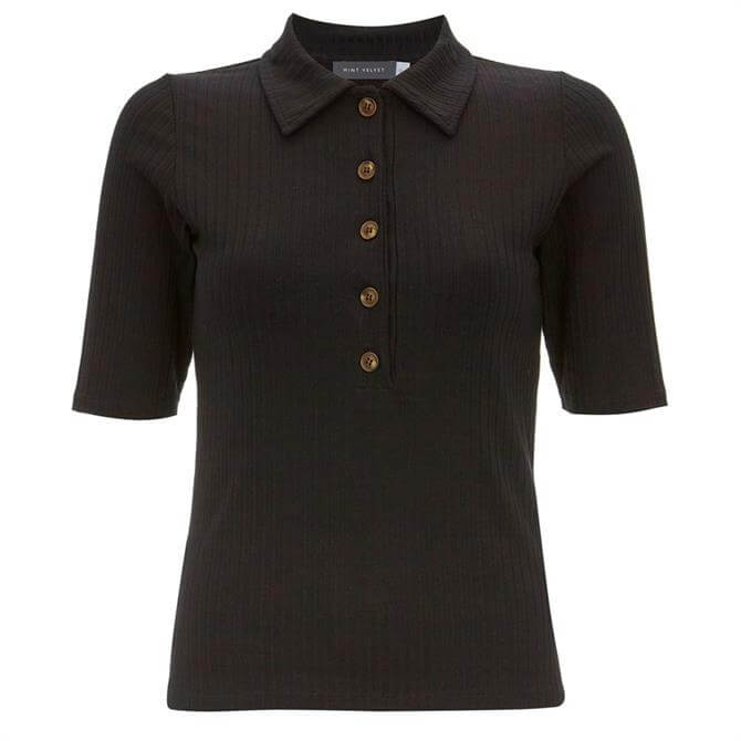Mint Velvet Black Rib Button Polo Shirt
