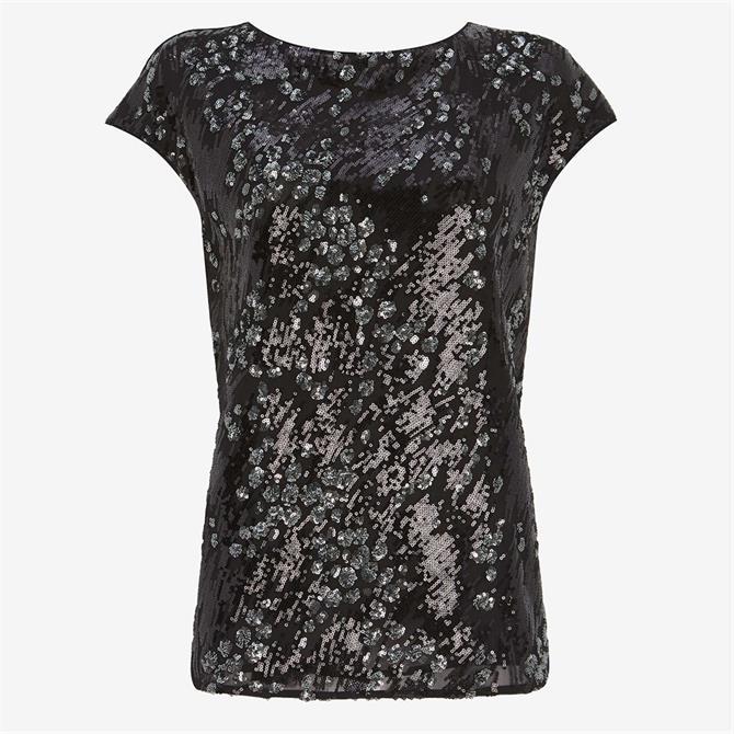 Mint Velvet Black Animal Sequined Top