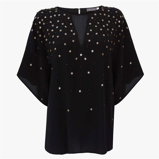 Mint Velvet Black Star Sequin Top