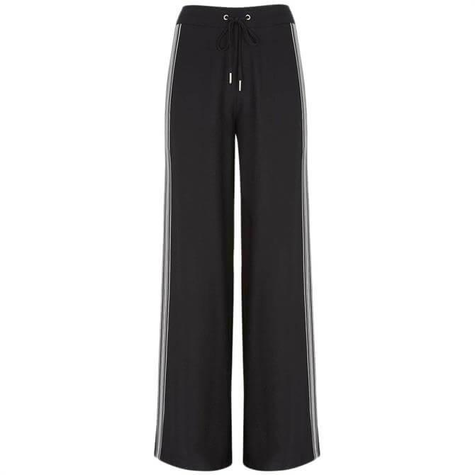 Mint Velvet Black Striped Wide Leg Trouser