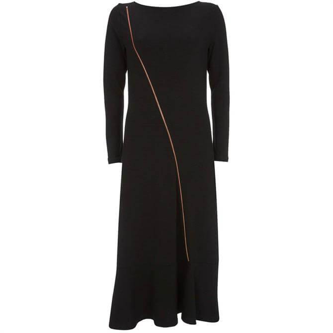 Mint Velvet Black Zip Jersey Midi Dress