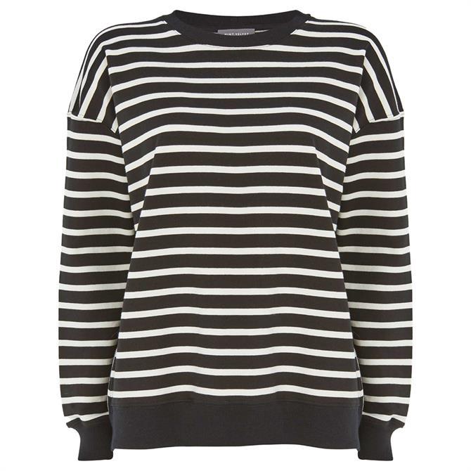 Mint Velvet Black Zip Striped Sweatshirt