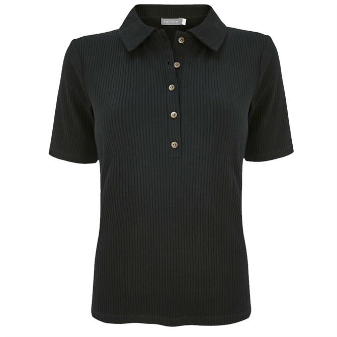 Mint Velvet Black Ribbed Polo Shirt