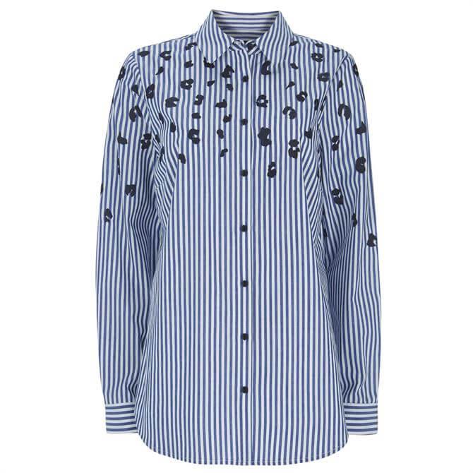 Mint Velvet Blue Leopard Striped Shirt