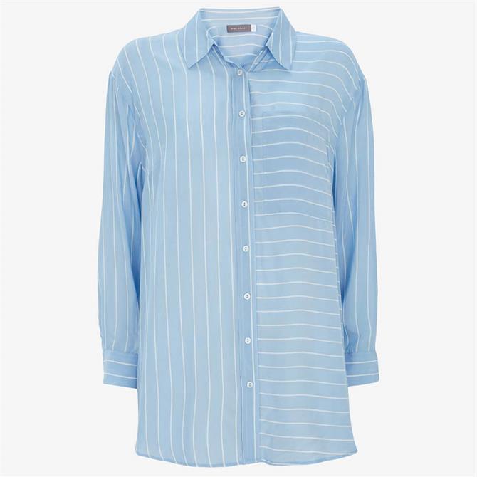 Mint Velvet Blue Striped Oversized Shirt
