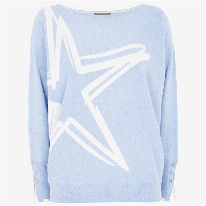Mint Velvet Blue Graphic Star Jumper