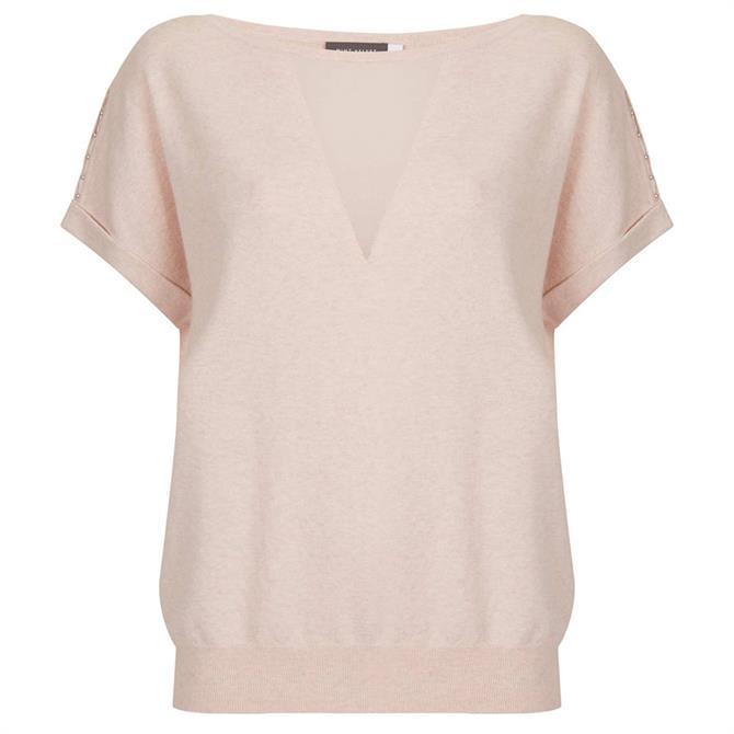 Mint Velvet Blush Sheer Insert Knitted Top