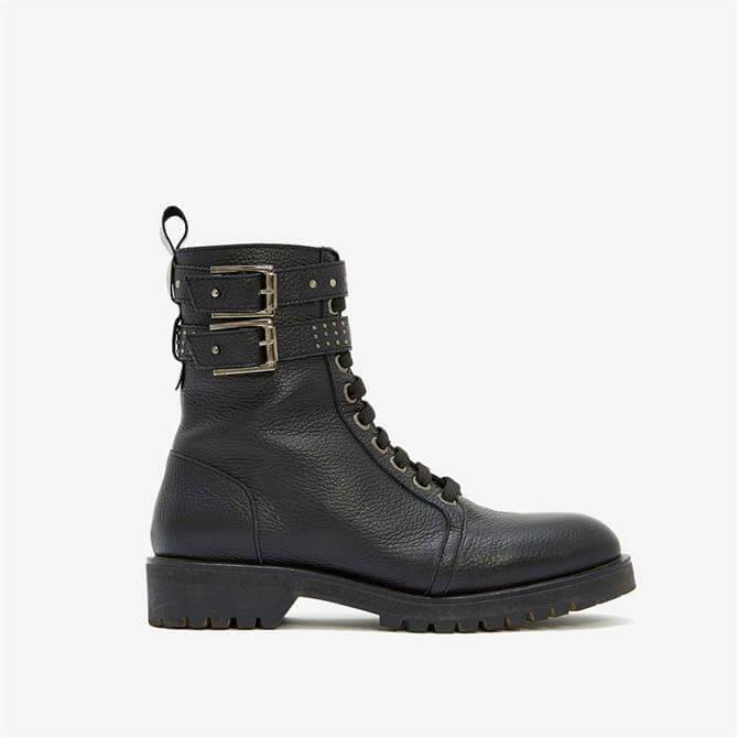 Mint Velvet Brooke Black Leather Boots