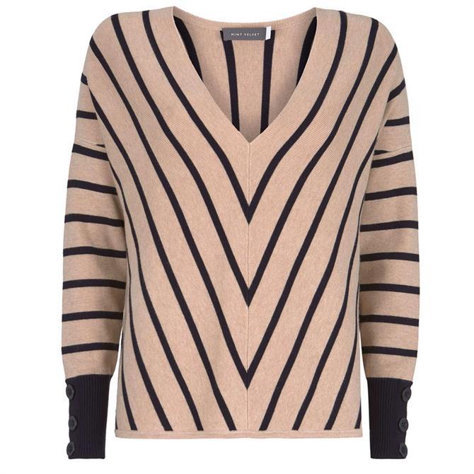 Mint Velvet Camel Chevron Striped Knit Jumper