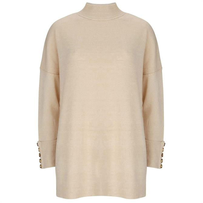 Mint Velvet Camel High Neck Knitted Tunic Jumper