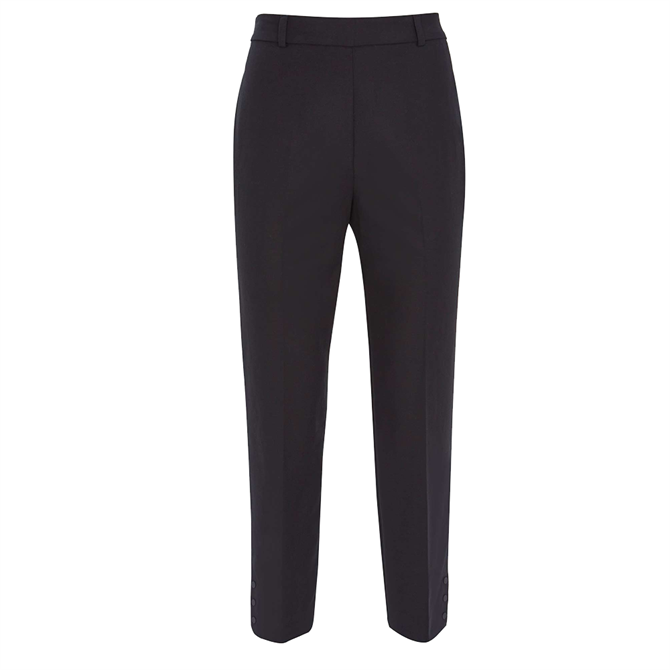 Mint Velvet Black Popper Capri Trousers