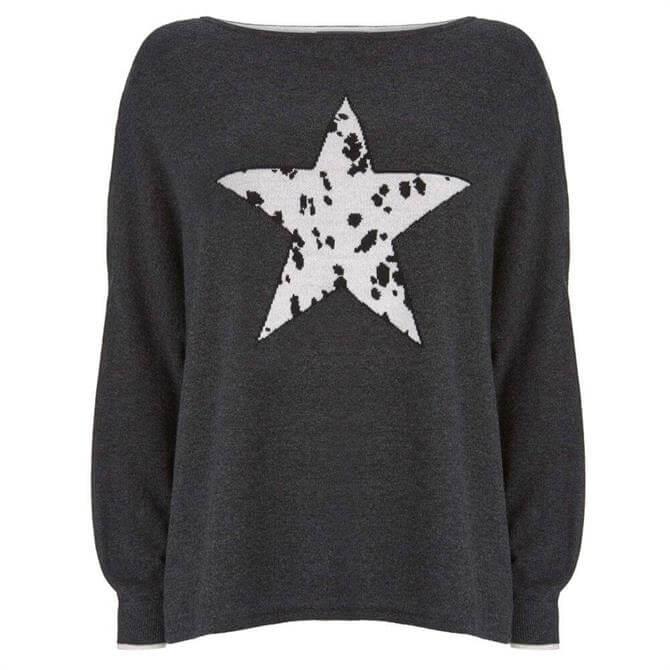 Mint Velvet Charcoal Dalmatian Star Jumper