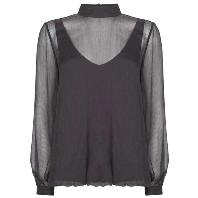 Mint Velvet Charcoal Layered Chiffon Top