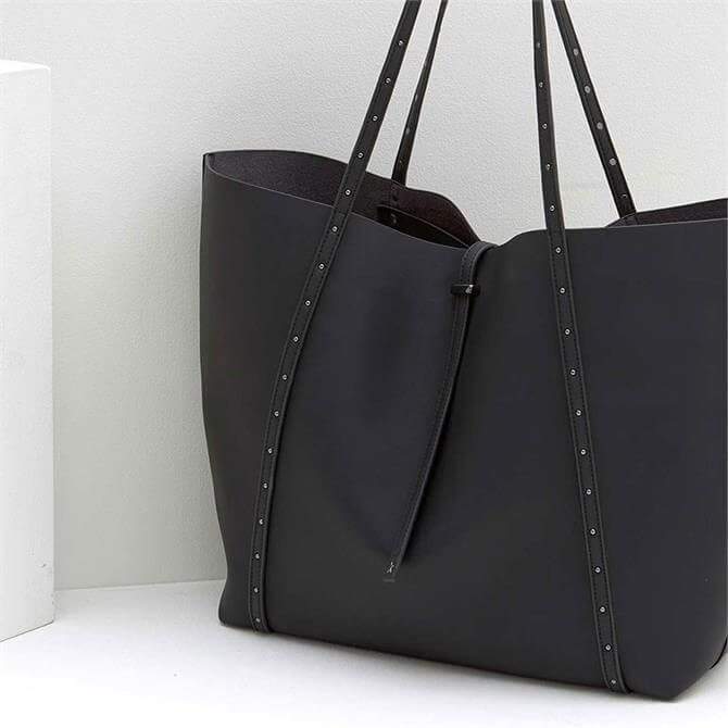 Mint Velvet Cosima Black Studded Tote Bag
