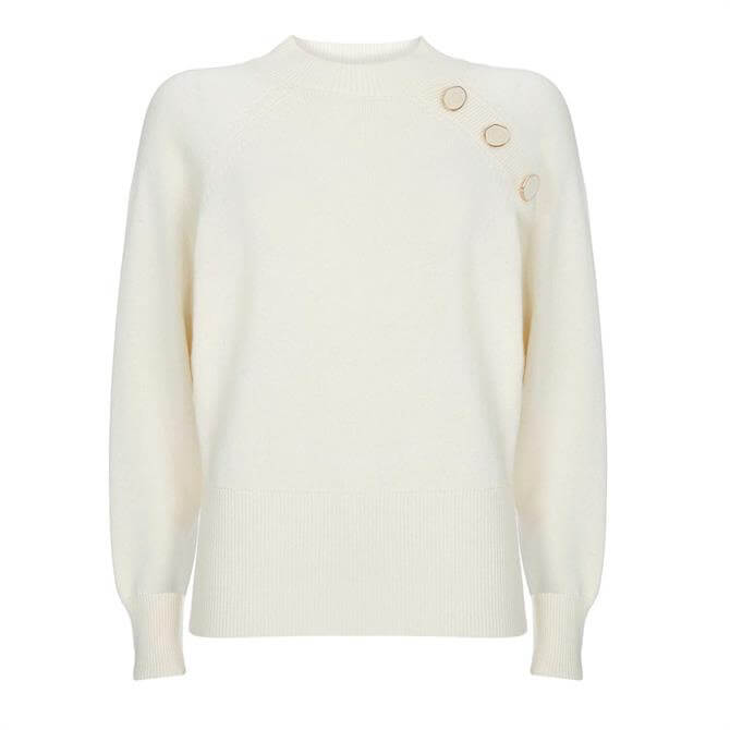 Mint Velvet Cream Button Batwing Jumper