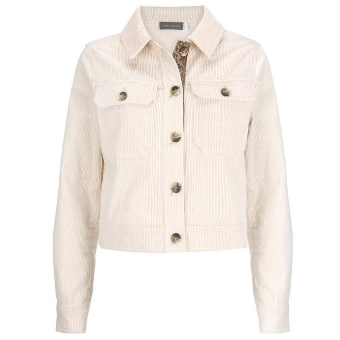 Mint Velvet Cream Cord Cropped Jacket
