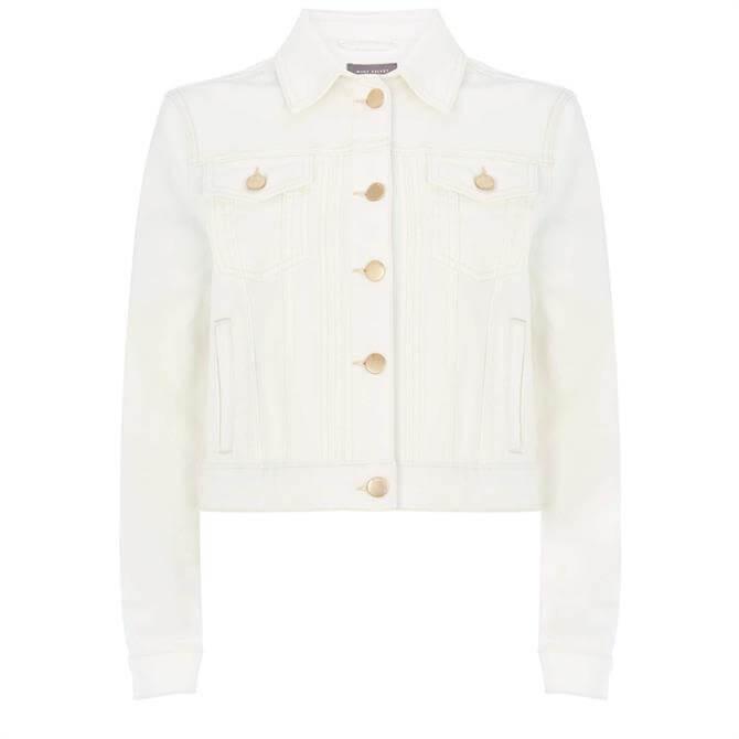 Mint Velvet Off-White Cropped Denim Jacket