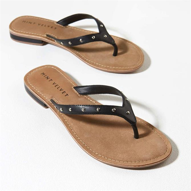 Mint Velvet Ellen Black Leather Flip Flops