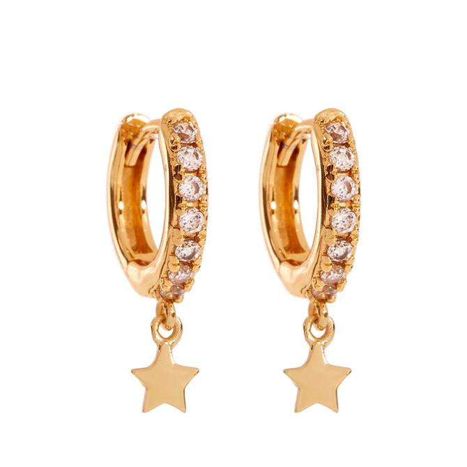 Mint Velvet Gold Pave Star Hoop Earrings