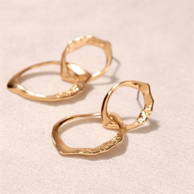 Mint Velvet Gold Irregular Drop Earrings