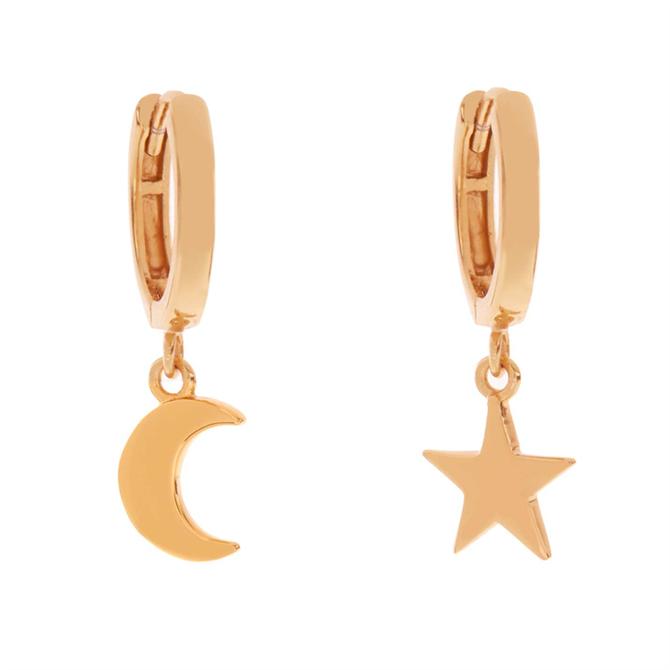 Mint Velvet Gold Star & Moon Hoops