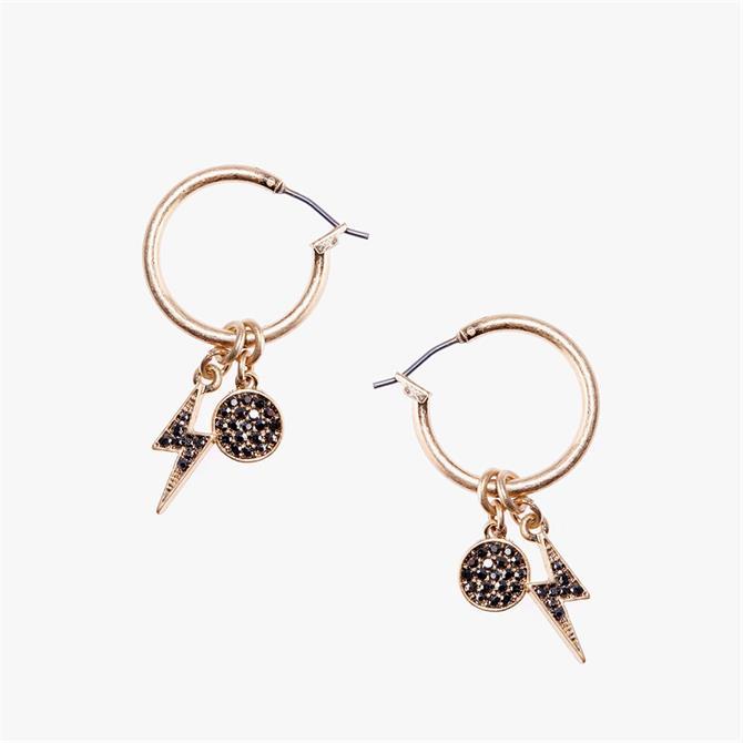 Mint Velvet Gold Tone Charm Hoop Earrings