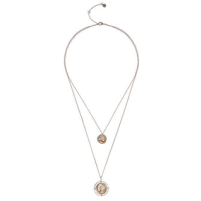 Mint Velvet Gold Tone Disc Layer Necklace