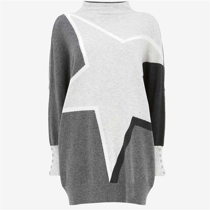 Mint Velvet Grey Blocked Star Long Jumper