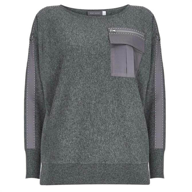 Mint Velvet Grey Military Pocket Jumper