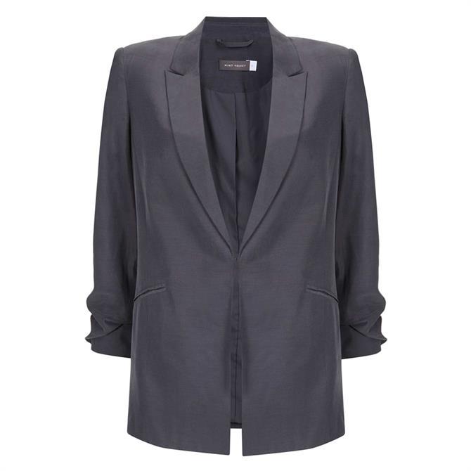 Mint Velvet Grey Ruched Sleeve Blazer