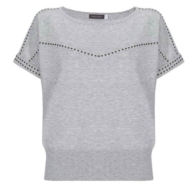 Mint Velvet Grey Studded Knitted Top