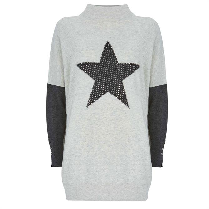 Mint Velvet Grey Studded Star Knit Tunic Jumper
