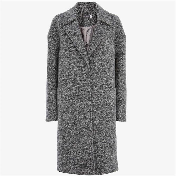 Mint Velvet Grey Textured Boyfriend Coat