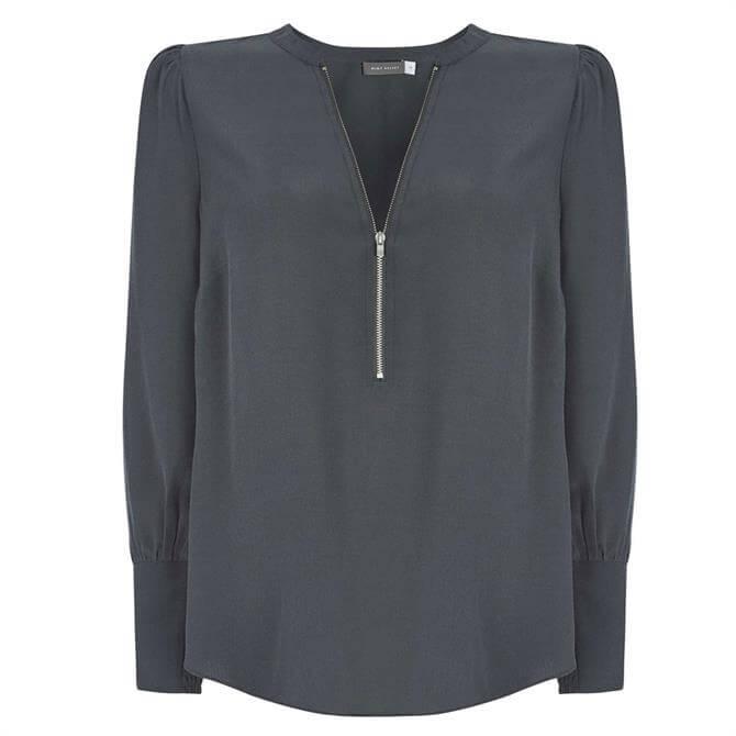 Mint Velvet Grey Zip Puff Sleeve Top