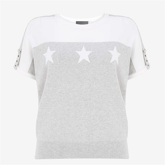 Mint Velvet Grey Blocked Star Knitted Top