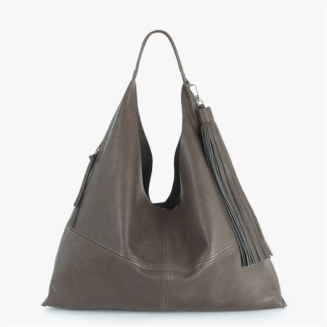 Mint Velvet Lana Grey Slouchy Leather Bag