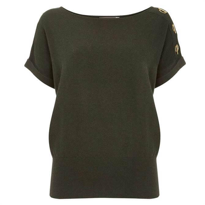 Mint Velvet Khaki Eyelet Knitted Top