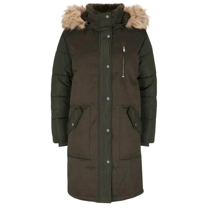 Mint Velvet Khaki Faux Fur Parka Coat
