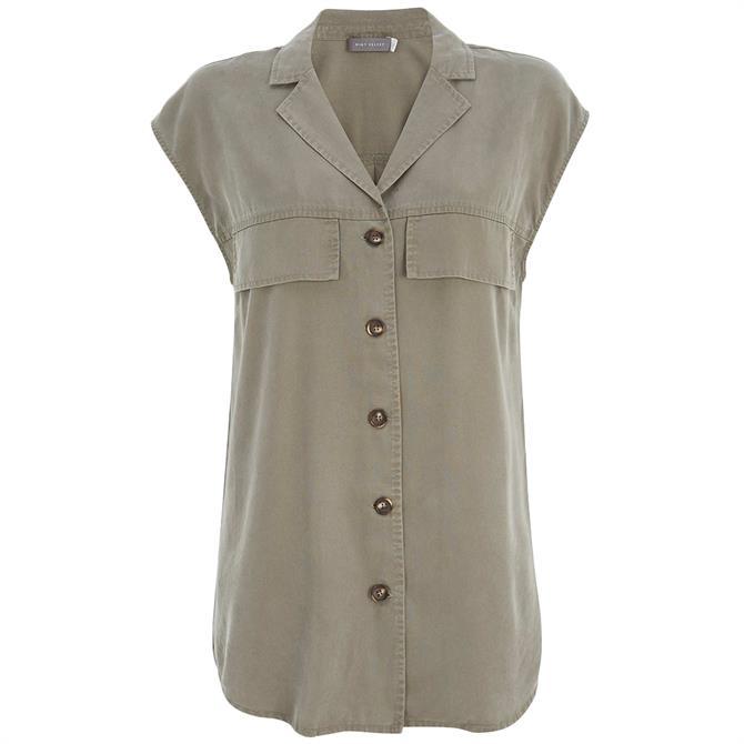 Mint Velvet Khaki Long Sleeveless Shirt