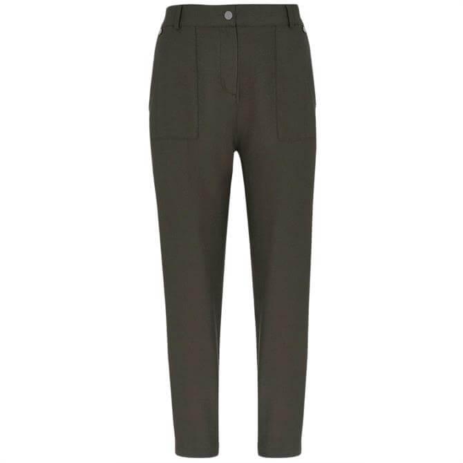 Mint Velvet Khaki Popper Trousers