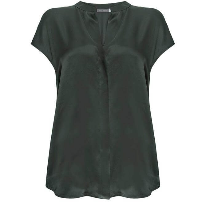 Mint Velvet Khaki Silk Satin Front Top
