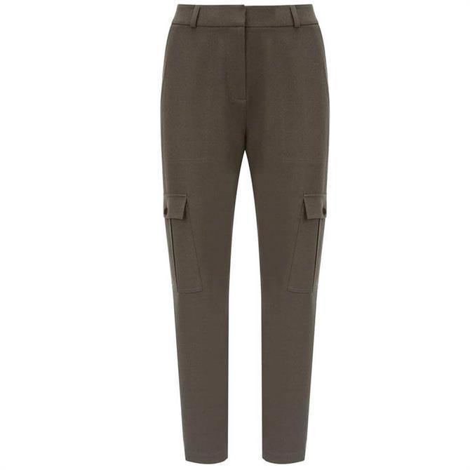 Mint Velvet Khaki Utility Tapered Trousers