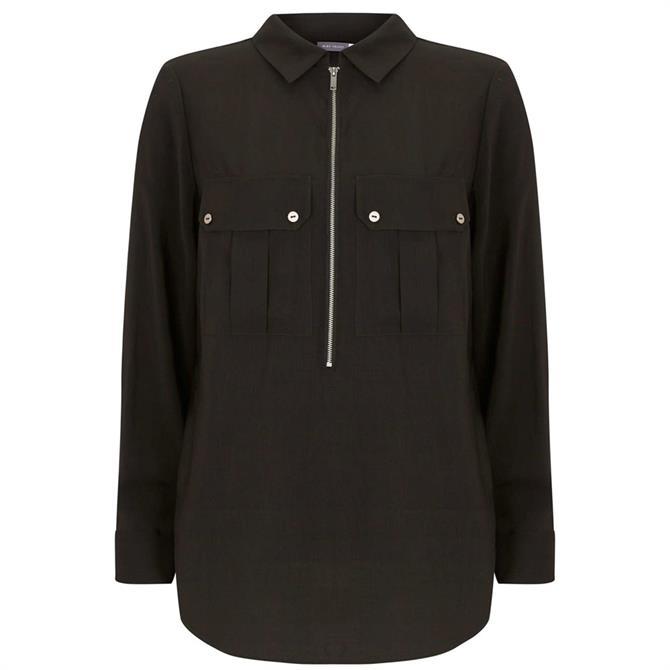 Mint Velvet Khaki Utility Zip Front Shirt