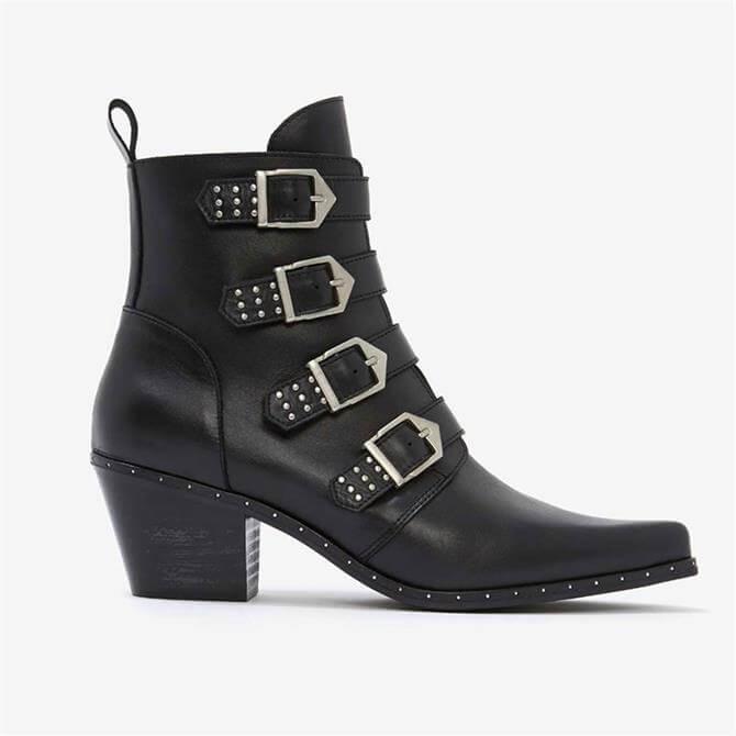 Mint Velvet Lou Black Leather Cowboy Boots