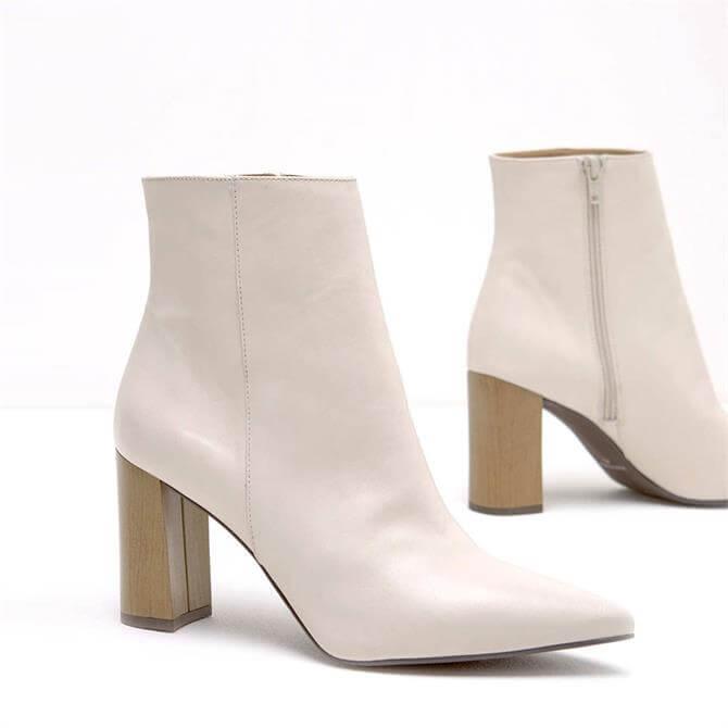 Mint Velvet Melanie Off White Ankle Boots