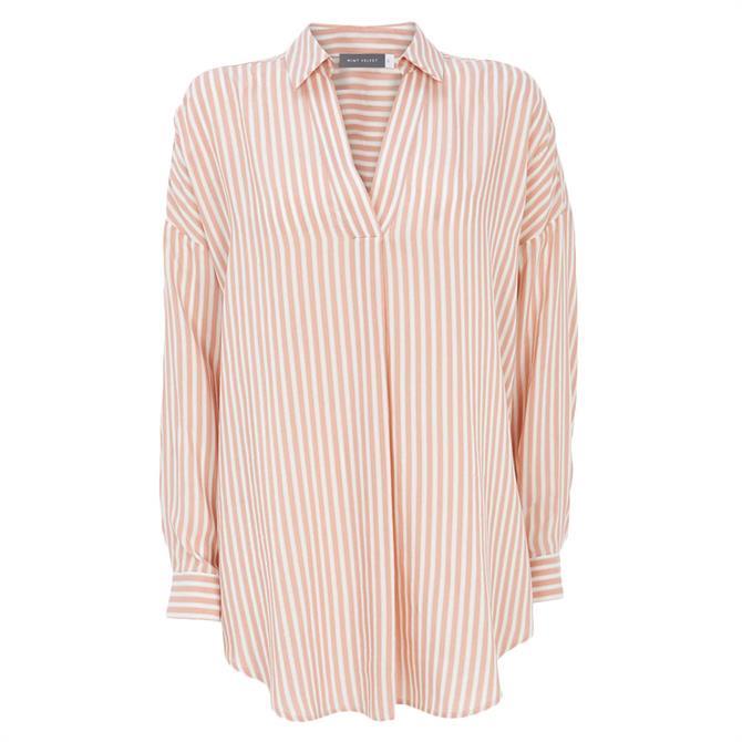 Mint Velvet Blush Striped Oversized Shirt