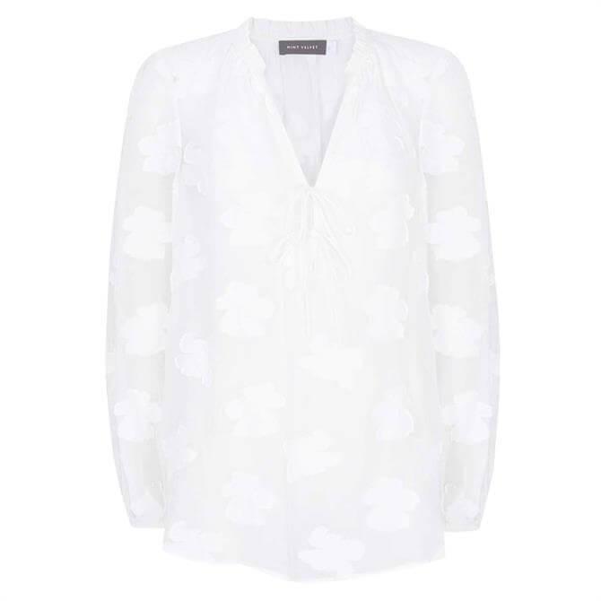 Mint Velvet Off-White Floral V-Neck Blouse