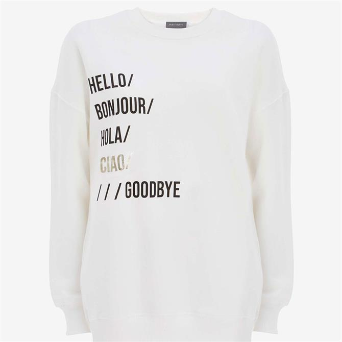 Mint Velvet Off-White Hello Sweatshirt