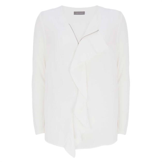 Mint Velvet Off-White Zip Ruffled Top
