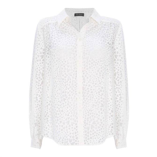 Mint Velvet White Heart Burnout Shirt